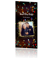 Foto save the date kerstkaart met confetti
