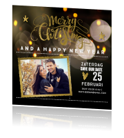 Foto save the date kerstkaart met typografie
