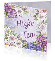 Uitnodiging high tea clematis