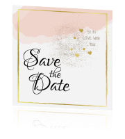 Hippe trouwkaart save the date met goudfolie