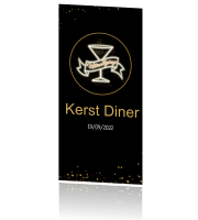 Uitnodiging kerstdiner VIP black and gold