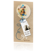 Hippe save the date kaart met confetti ballon