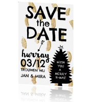 Hippe combi kerstkaart met save the date tekst