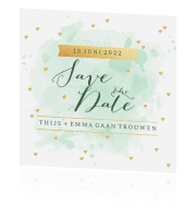 Save the date kaart aquarel hartjes tekst