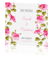Trendy save the date kaart met bloemen