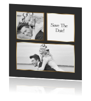 Save the date fotocollage zwart goud
