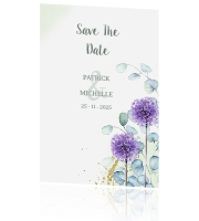 Save the date met eucalyptus en bloemen