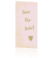 Save the date uitnodiging goud tinten confetti roze