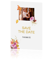 Save the date kaart herfst thema en bloemen