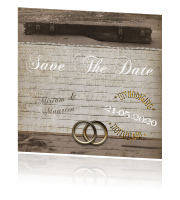 Save the date kaart vintage hout en ringen