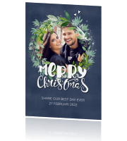Save the date kerstkaart met krans en foto