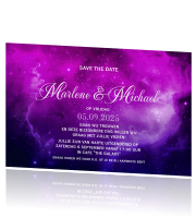Save the date met donker paarse violet galaxy