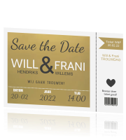 Save the date kaart ticket in goud met wit
