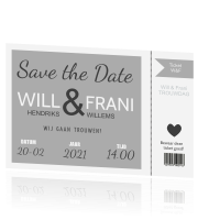 Save the date kaart ticket in zilver met wit