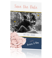 Save the Date uitnodiging in navyblue en roze met goud