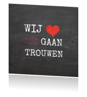 Schoolbord save the date kaart met rood hart