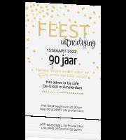 Verwonderend Stijlvolle trendy uitnodiging met gouden confetti 90 jaar XH-74