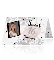 Uitnodiging sweet 16 botanical chique zilver