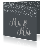 Trouwkaart Mr and Mrs met zilveren glitters en confetti