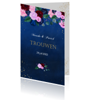 Trouwkaart rozen blue