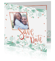 Trouwkaart save the date met foto botanical confetti