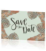 Trouwkaart Save the Date botanical mint rosegold