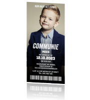 Uitnodiging ticket communie jongen