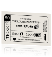 Verjaardagsuitnodiging in ticket-vorm