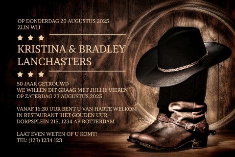 50 Jarig jubileum uitnodiging in country en western look