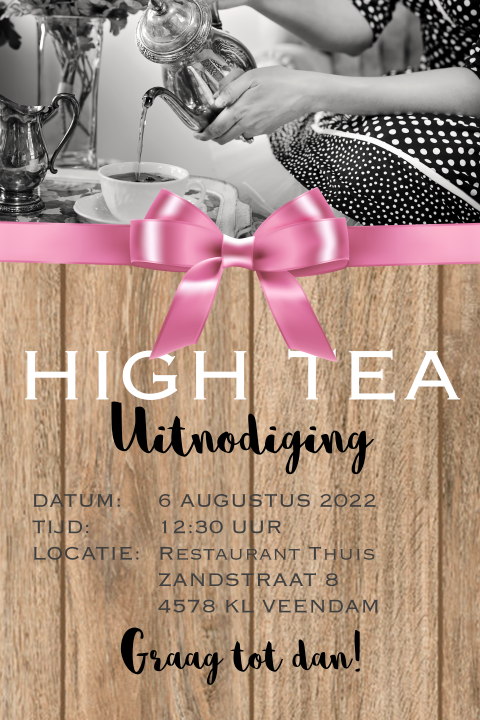 Uitnodiging high tea met roze strik