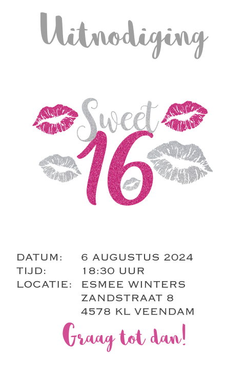 Hippe Uitnodiging sweet 16 party