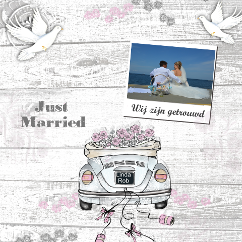 Just married trouwkaart met foto en trouwauto