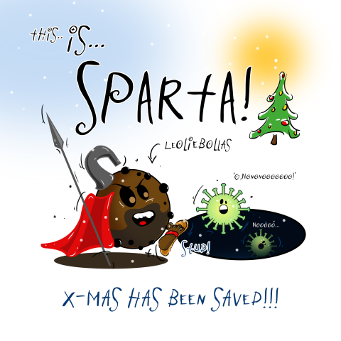 Kerstkaart cartoon Sparta in de aanval
