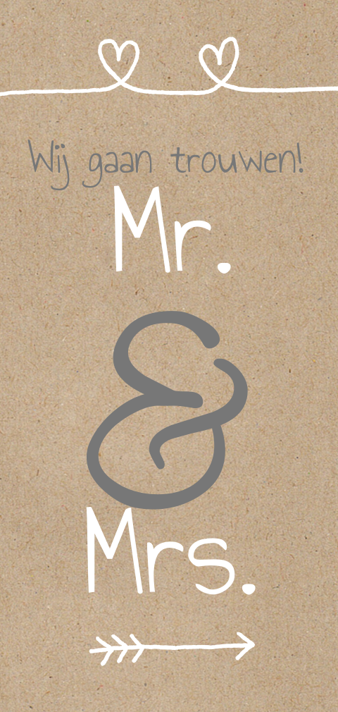Mr en Mrs kaart craft harten en typografie