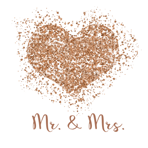 Trouwkaart mr en mrs met koper glitters