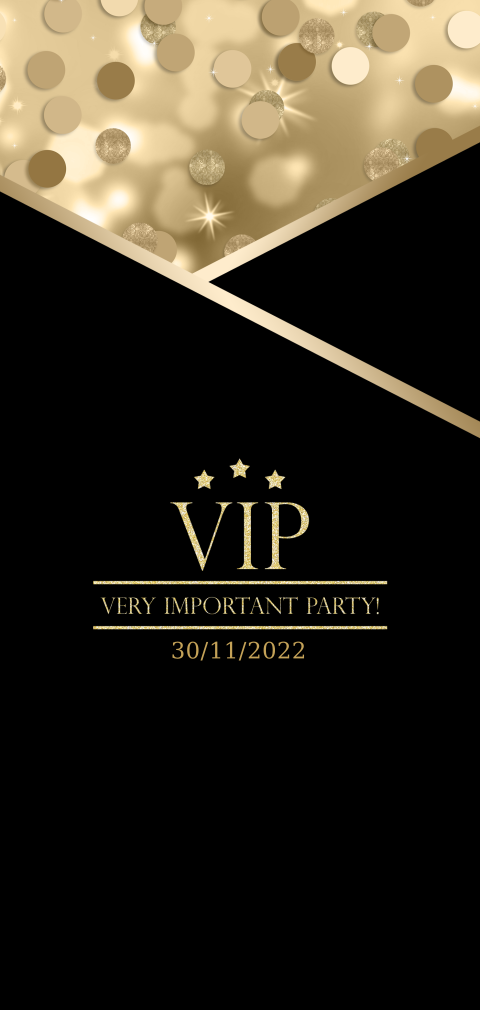 Party VIP ticket Black and Gold