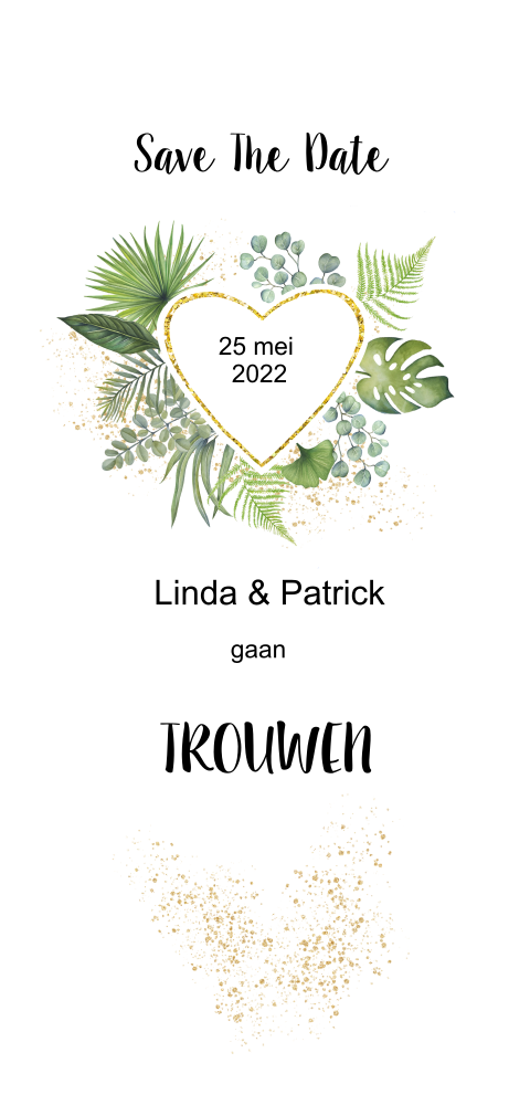 Save the date botanical met bladeren
