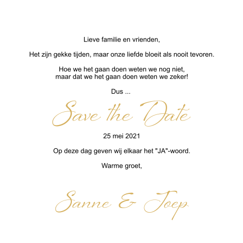 Save the Date fotocollage met goudkleurig blokje
