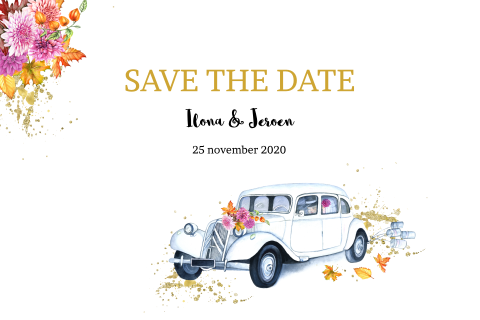 Save the date herfst thema en oldtimer