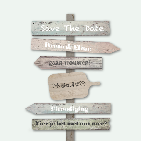 Save the date kaart houten borden vierkant