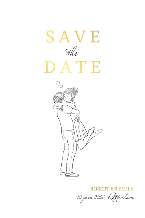 Save the date  kaart met romantisch getekend stel