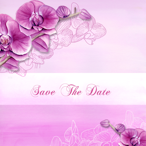 Save the date trouwerij met orchidee in paars