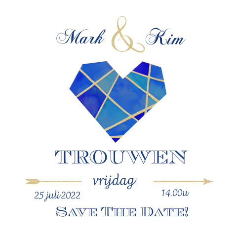 Save the date hart in blauw met goud