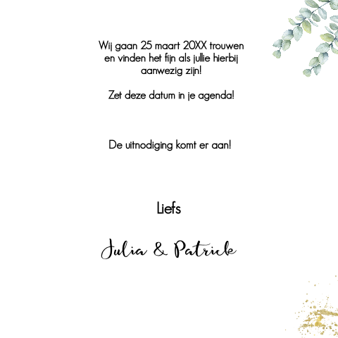 Save the Date uitnodiging met eucalyptus