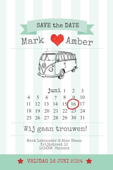 Save the date kaart met banner en vw busje