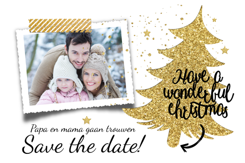 Luxe save the date kerst in wit en goudkleur en eigen foto