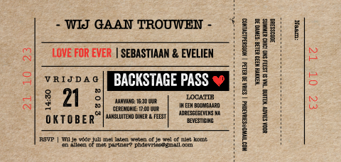 Trouwkaart ticket langwerpig met kraft