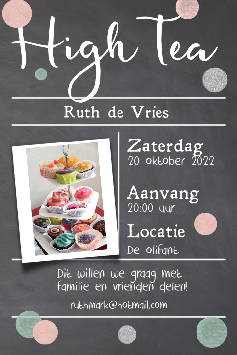 Uitnodiging high tea met rose goud en zilveren typografie