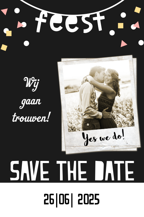 Hippe save the date kaart schoolbord