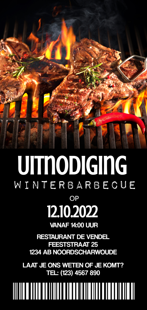 Uitnodiging ticket winterbarbecue bbq feestje